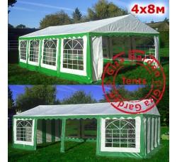 Шатер павильон Giza Garden 4x8 зеленый-белый, усиленный