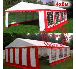 Шатер павильон Giza Garden 4x8 Красно-белый, усиленный