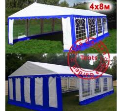 Шатер павильон 4x8 Giza Garden сине-белый, усиленный