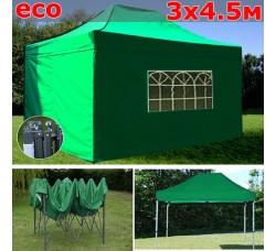 Быстросборный шатер гармошка со стенками 3х4,5м зеленый