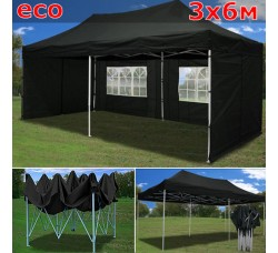 Быстросборный шатер гармошка со стенками 3х6м черный
