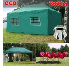 Быстросборный шатер гармошка со стенками 3х6м зеленый