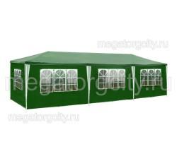 Большой шатер 3х9м со стенками, зеленый