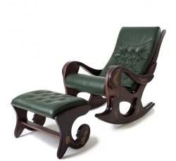 Кресло-качалка Грация с банкеткой (без росписи), натуральная кожа