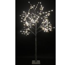 """LED-Дерево""""Берёзка"""", 250 см, 144 светодиода, белая c серебряными шариками"""