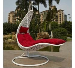 Подвесное кресло-шезлонг Relaxa White (стойка оплетена ротангом)