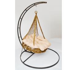 Подвесное плетеное кресло-гамак IRIS с каркасом + балдахин