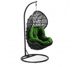 Подвесное кресло Lotos Black (стойка оплетена ротангом)