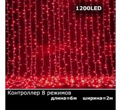 Светодиодный занавес с контроллером 2х6м красный
