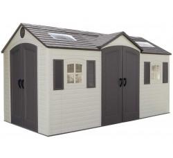 Пластиковый cарай гараж Лайф Тайм (LifeTime) 15x8 (ШГВ) 452х239х243,8 см Две Двери