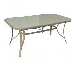 Стол садовый стеклянный 90x70x160 см, металл/стекло, цвет бежевый