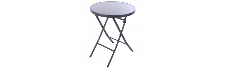 Стол садовый складной 60x71x60 см, металл/стекло