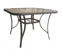 Стол садовый 100х100х70 см, стекло, цвет бежевый