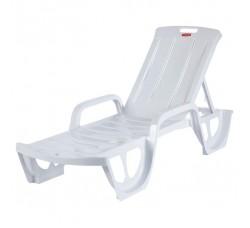 Шезлонг-лежак белый пляжный