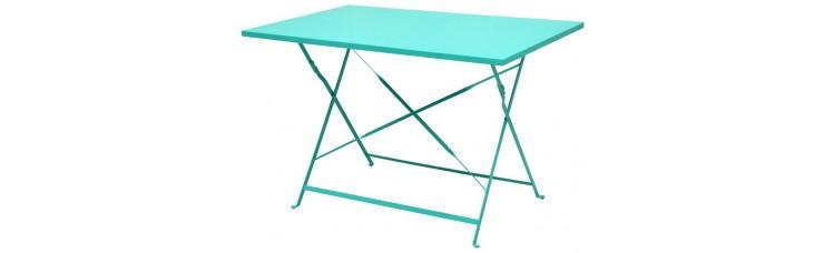 Стол складной металлический бирюзовый, 110x70x71 см
