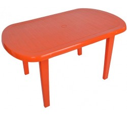 Стол пластиковый овальный  оранжевый