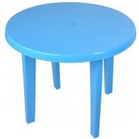 Стол пластиковый круглый голубой