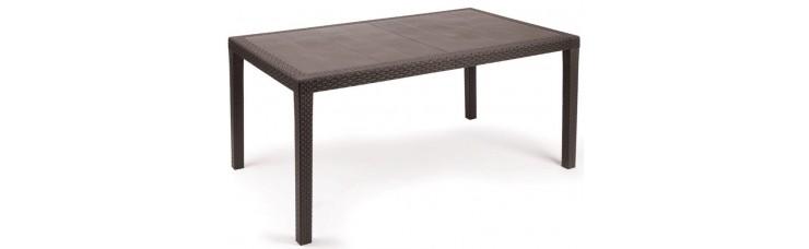 Стол из искусственного ротанга  коричневый, 150х90х72 см