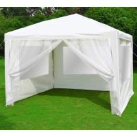 Быстросборный шатер автомат Люкс 3х3 белый, 3 стенки с окном, 1 москитная