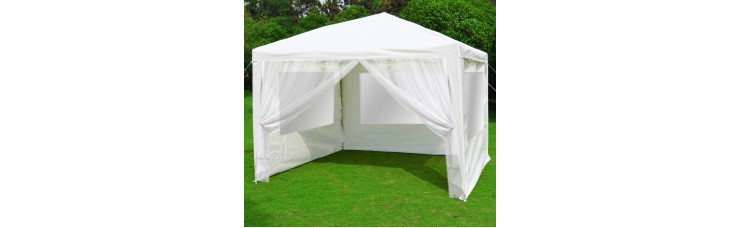 Быстросборный шатер автомат Люкс 3х3 белый, 3стенки с окном, 1 москитная