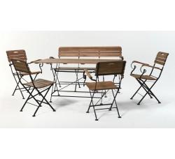 Стол прямоугольный 150*80 см + скамья  + 4 стула с подлокотниками