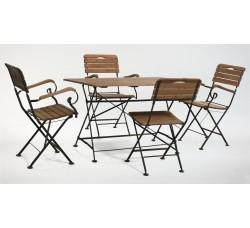 Стол прямоугольный 120*80 см + 4 стула с подлокотниками