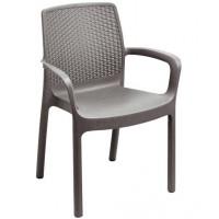 Кресло пластиковое коричневое, 61x54x82 см