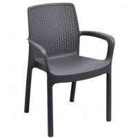 Кресло пластиковое чёрное, 61x54x82 см