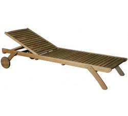 Шезлонг деревянный с колёсами