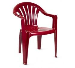 Кресло пластиковое бордовое, 56х56х80 см
