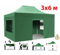 Быстросборный шатер автомат 4366 3х6м со стенками зеленый (Helex)