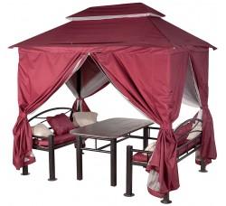 """Беседка """"Уютная"""" бордовая с обеденным столом, лавочками, подушками"""