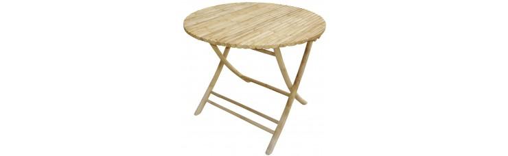 Стол складной бамбук д90
