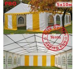 Шатер Giza Garden 5x10м желто белый PRO (ПРО)