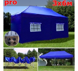 Быстросборный шатер автомат PRO 3х6м синий