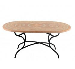 Стол овальный металлический с керамической столешницей