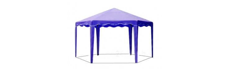Садовый Тент 6 граней по 2 м., усиленный каркас, без стенок, синий
