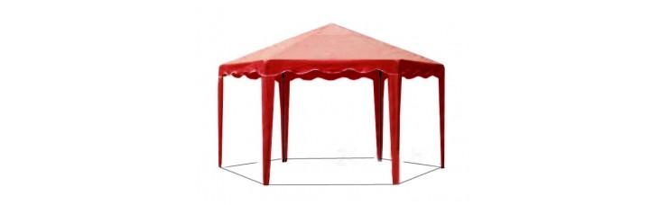 Садовый Тент 6 граней по 2 м., усиленный каркас, без стенок, красный