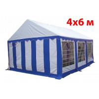 Шатер павильон 4x6 м бело синий ПВХ