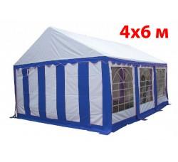 Шатер павильон 4x6 м бело синий