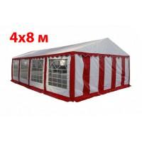 Шатер павильон 4x8 м бело красный ПВХ