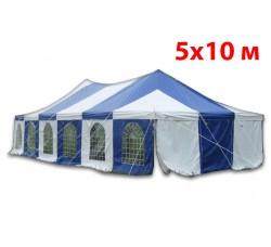 Шатер павильон Пагода 5x10 м бело синий