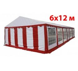 Шатер павильон 6x12 м бело красный
