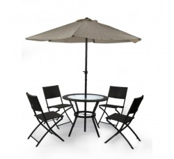 Комплект мебели со складным (бежевым) зонтом TJF-R407-BN