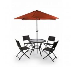 Комплект мебели(коричневый) со складным (оранжевым) зонтом IPX-TJF-R407-BN-BG