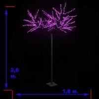 LED-«Японская ива» пушистая, розовая, высота 2,5 м