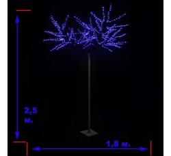 LED-«Японская ива» пушистая, синяя, высота 2,5 м