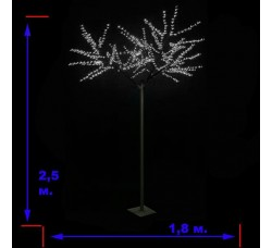 LED-«Японская ива» пушистая, белая, высота 2,5 м