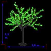 LED-«Японская ива» пушистая, зеленая, высота 2,5 м