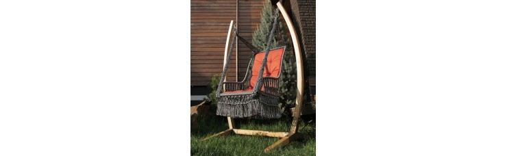 Подвесное кресло качели ИНКА с подушкой + каркас ФОРК + балдахин